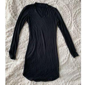Choker Long Sleeve Black Dress